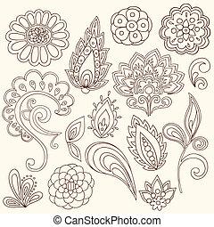 Henna Paisley Tattoo Doodles Vector - Henna Mehndi Tattoo...