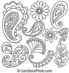 henna, paisley, tatuagem, doodles, vetorial