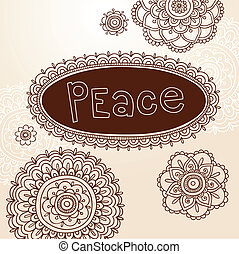 Henna Peace Flower Frames Vector
