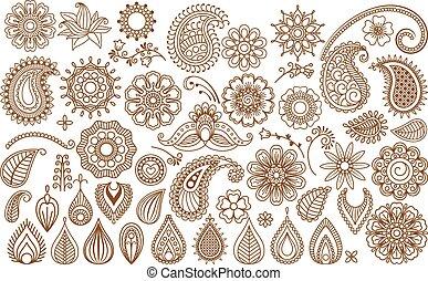 Henna tattoo doodle elements - Henna tattoo doodle vector...