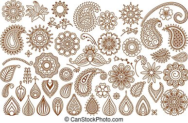 Henna tattoo doodle elements