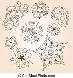 Henna tattoo doodle set. Mehndi linear elements on brown background. Vector illustration