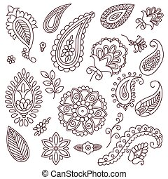 Henna tattoo doodle vector elements