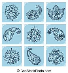 Henna tattoo mehndi flower doodle ornamental decorative indian design pattern paisley arabesque mhendi embellishment vector.
