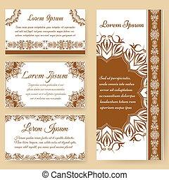 Henna tattoo paisley greeting card set