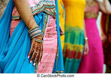 Henna Tattoos and Saris - Image detail shot of henna tattoo...