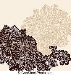 henna, vektor, silhuett, design