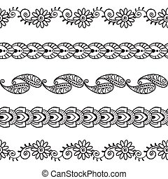 henna, wzory, abstrakcyjny, 3, seamless, brzegi, kwiatowy, komplet, wektor, 00052