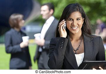 henne, affärskvinna, ung, mobiltelefon, asiat