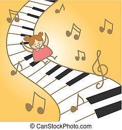 henne, fantasry, glädje, musikalisk, flicka, piano