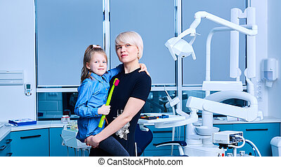 henne, klinik, daugter, tools., dental, mamma, stol, bakgrund, inre