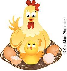 henne, mit, küken, und, eier, auf, nest