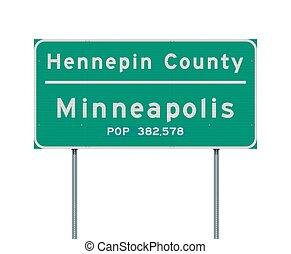 hennepin, strada, segno città, contea, minneapolis