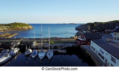 Henningsvaer village. Aerial view. Norway. - Henningsvaer is...