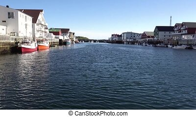 Henningsvaer village, Norway. View from the yacht - ...