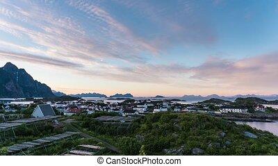 Henningsvaer village. View on rocks. Norway. - Henningsvaer ...