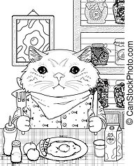 henrivende, coloring, kitty, side