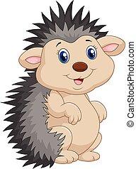henrivende, hedgehog, var, stand, cartoon