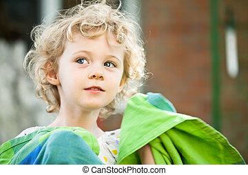 henrivende, lille pige, tag, closeup, udendørs, ind, sommer