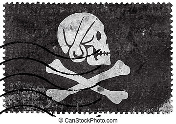 Henry Every Pirate Flag, old postage stamp