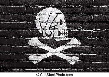 Henry Every Pirate Flag, painted on brick wall