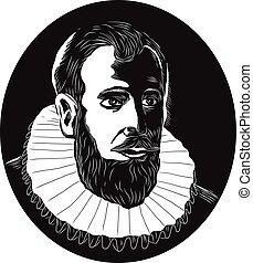 Henry Hudson Explorer Woodcut