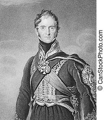 Henry Paget, 1st Marquess of Anglesey (1768-1854) on engraving from the 1800s. British military leader and politician, mostly remembered for leading the charge of the heavy cavalry against d'Erlon's column during the Battle of Waterloo. Engraved by S.Freeman after a painting by T.Lawrence and ...