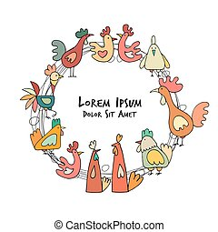 Hens and roosters in henhouse, sketch for your design