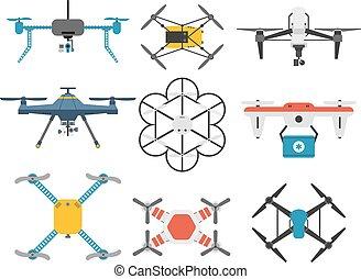 henyél, quadcopter, vektor, set.