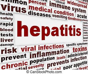 hepatitis, medizin, plakat, begriff