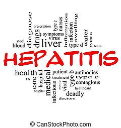 hepatitis, palabra, nube, concepto, en, rojo, y, negro