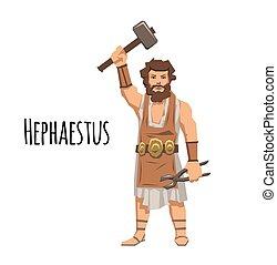 Hephaestus, ancient Greek god of blacksmith and fire. Mythology. Flat vector illustration. Isolated on white background.