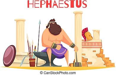 hephaestus, cartone animato, composizione