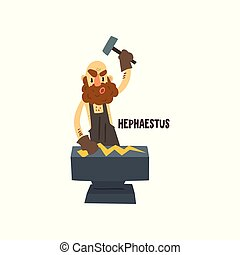 Hephaestus Olympian Greek God, ancient Greece mythology character vector Illustration on a white background