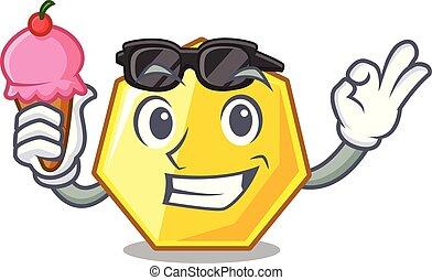 heptagon, crème, isolé, glace, mascotte