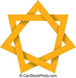 heptagram, goud, 3d