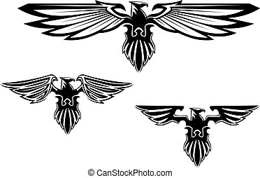 heráldica, águila, símbolos, y, tatuaje