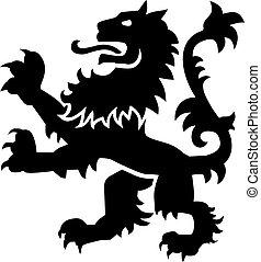 heráldica, arma, león, con, detalles