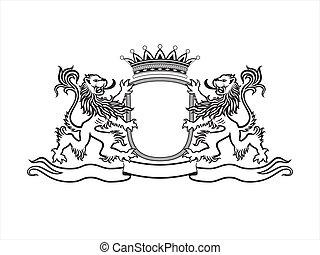 heráldica, crista, com, leões