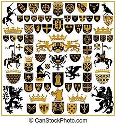 heráldica, cristas, e, símbolos