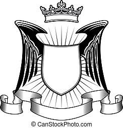 heráldica, escudo, asas anjo