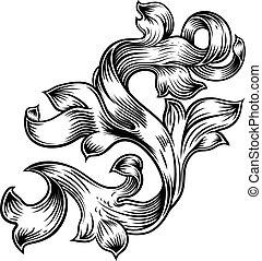 heráldica, padrão, filigrana, desenho, floral, scroll