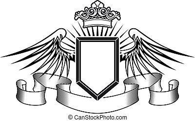 heráldica, protector, con, alas ángel, y, corona