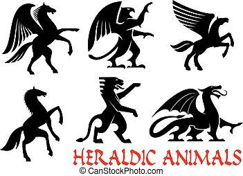 heráldico, animales, emblemas, y, iconos