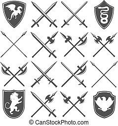 heráldico, armería, gráfico, iconos, conjunto