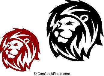 heráldico, cabeza, león