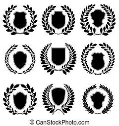 heráldico, conjunto, emblemas
