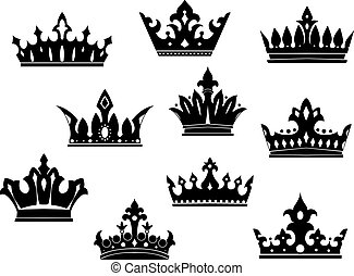 heráldico, conjunto, negro, coronas