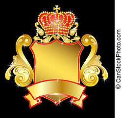 heráldico, corona, protector