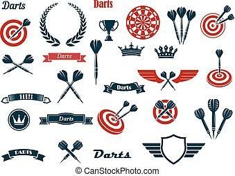 heráldico, elementos, juego, ditems, dardos